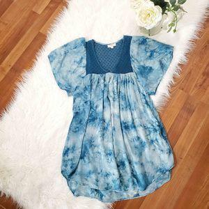 Umgee Flowy Tunic Boho Blue Tie Dye Top Sz Small